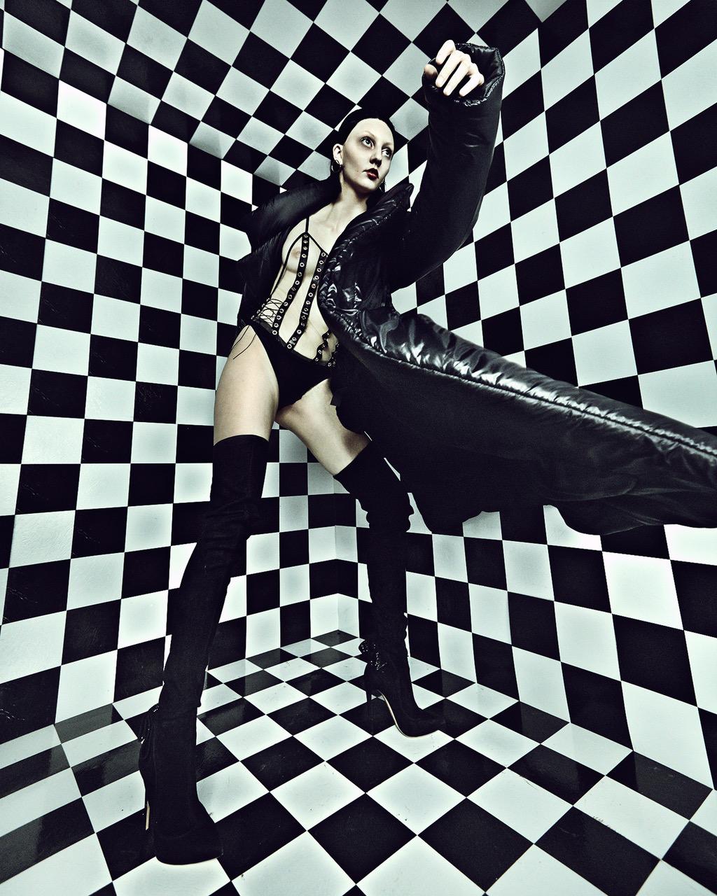 God save Queens bodysuit, Norma Kamali jacket, Aoko Su earrings, boots stylist's own